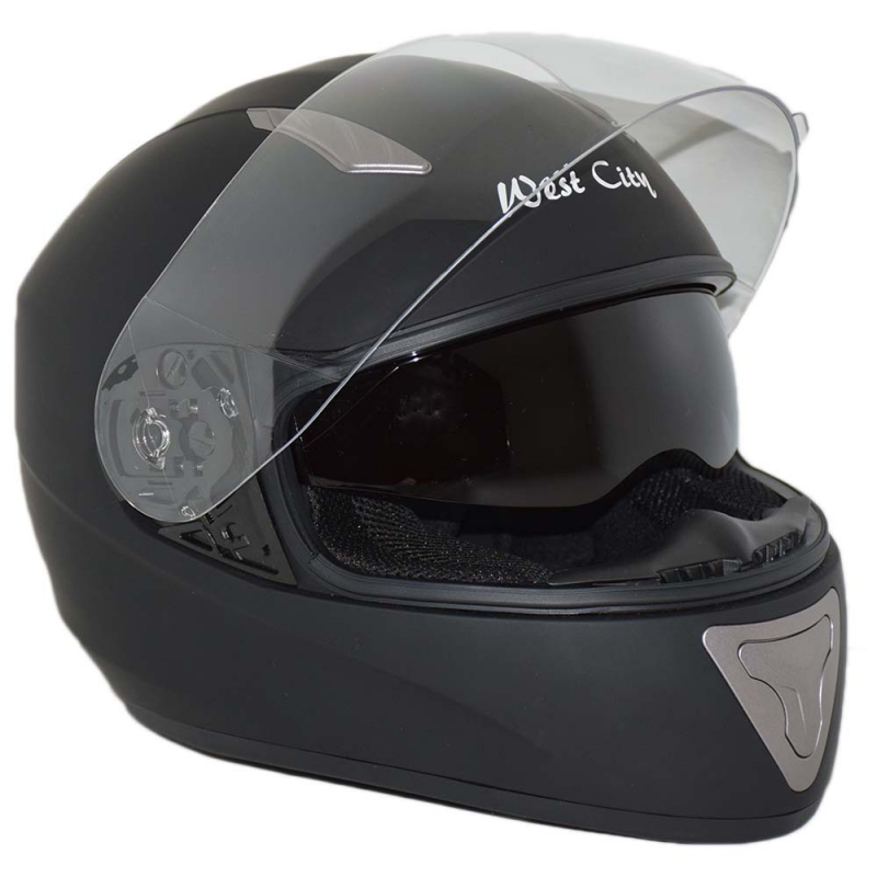WEST CITY BLACK MATTE INTEGRAL HELMET WITH SUNSCREEN